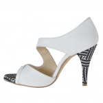Woman's open shoe in white leather and optical printed suede heel 9