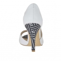 Woman's open shoe in white leather and optical printed suede heel 9 - Available sizes:  42