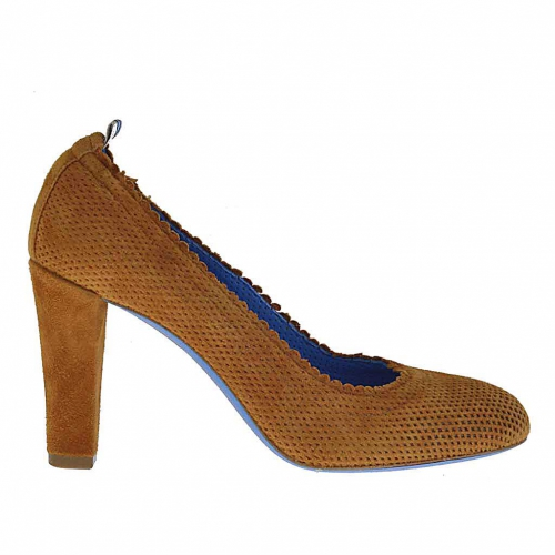 Pump shoe for women in tobacco brown pierced suede heel 8 - Available sizes:  45