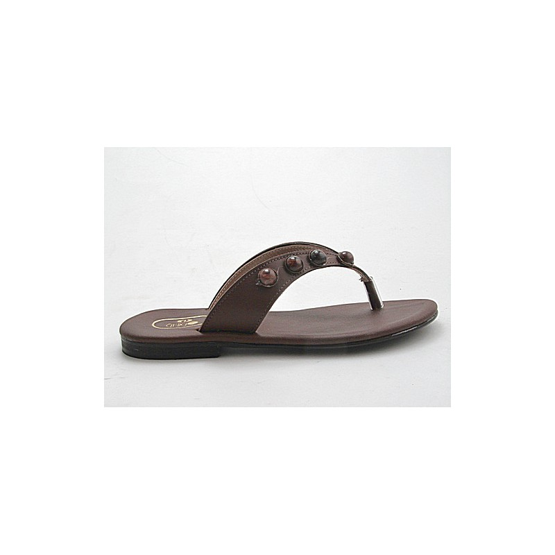 Flip-flop en cuir marron - Pointures disponibles:  32