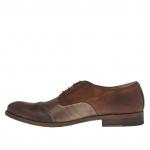 Chaussure pour femmes avec lacets en cuir marron, taupe et cuir talon 2 - Pointures disponibles:  45