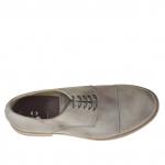 Chaussure élégant pour hommes avec lacets et bout droit en cuir gris tourterelle - Pointures disponibles:  38, 46, 47