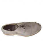 Men's elegant laced shoe in mud-coloured leather