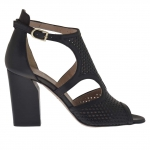 Woman's open strap shoe in black pierced leather heel 9