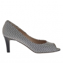 Woman's open toe shoe in optical black and white  printed leather heel 7
