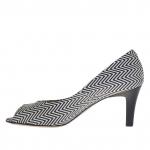 Escarpin ouvert pour femmes en cuir imprimé python avec optique géométrique noir et blanc talon 7 - Pointures disponibles:  45, 46