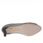 Escarpin ouvert pour femmes en cuir imprimé python avec optique géométrique noir et blanc talon 7 - Pointures disponibles:  45
