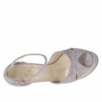 Woman's open strap pump in wisteria grey suede with platform and heel 15