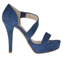 Woman's open platform pump in blue suede heel 12