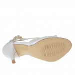 Woman's open pump with zipper and two straps in pearl white leather with platform and heel 9