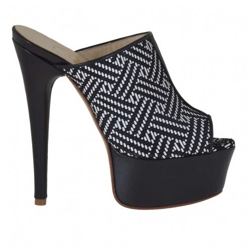 Woman's open mules in black leather and optical printed suede with platform and heel 15