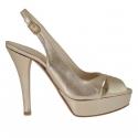 Sandale pour femmes avec plateforme en cuir lamé platine talon 12