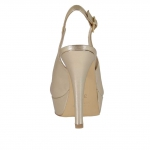Woman's platform sandal in platinum laminated leather heel 12