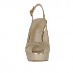 Sandale pour femmes avec plateforme en cuir lamé platine talon 12 - Pointures disponibles:  31, 42