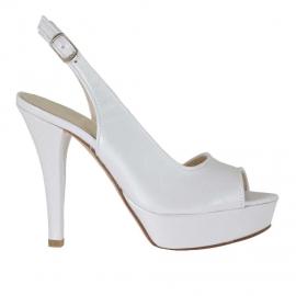 Sandalia de plataforma para mujer en piel blanca perlada tacon 12 - Tallas disponibles: 46