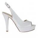 Sandale pour femmes avec plateforme en cuir blanc perlé talon 12