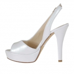 Woman's platform sandal in pearl white leather heel 12