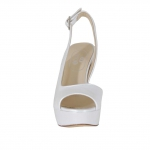 Sandale pour femmes avec plateforme en cuir blanc perlé talon 12 - Pointures disponibles:  46