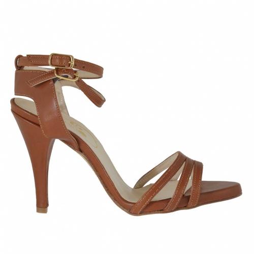 Sandale pour femmes avec courroies en cuir brun clair talon 9 - Pointures disponibles:  42