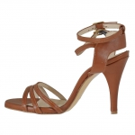 Woman's sandal with anklestraps in tan leather heel 9