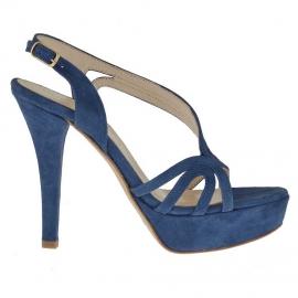 Sandalo da donna con plateau in camoscio blu tacco 12 - Misure disponibili: 31, 42, 43