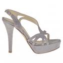 Woman's platform sandal in wisteria grey suede heel 12