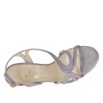 Woman's platform sandal in wisteria grey suede heel 12 - Available sizes:  42