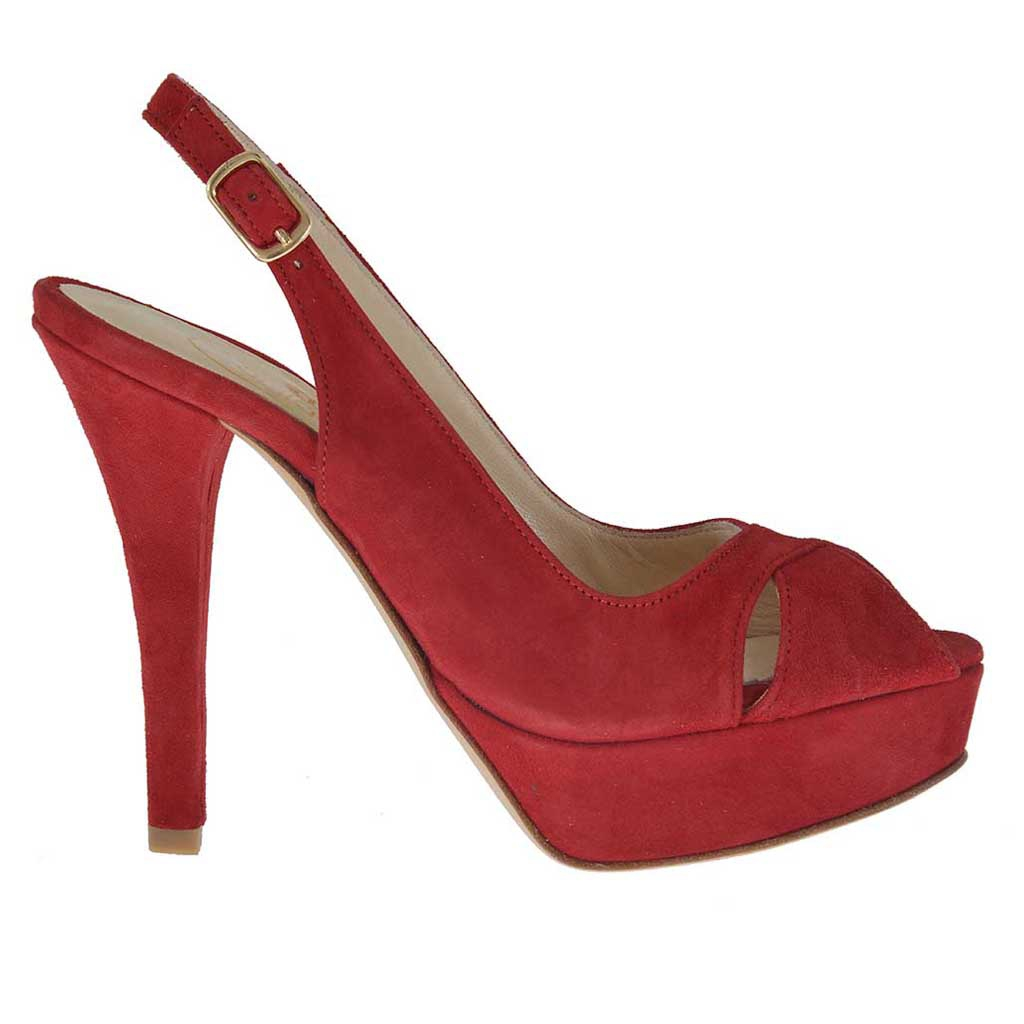 sandale pour femmes en daim rouge avec plateforme et talon. Black Bedroom Furniture Sets. Home Design Ideas