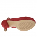 Sandale pour femmes en daim rouge avec plateforme et talon 12 - Pointures disponibles:  31