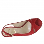 Woman's sandal in red suede with platform and heel 12