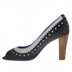 Woman's open toe pump in black and white leather heel 8 - Available sizes:  42