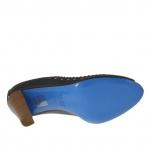 Escarpin à bout ouvert en cuir noir et blanc talon 8 - Pointures disponibles:  42