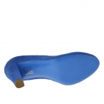 Pump shoe for women in pierced blue suede heel 8 - Available sizes:  42