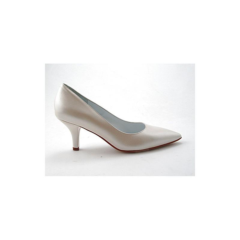 Spitzer Damenpump aus elfenbeinfarbigem Leder Absatz 7 - Verfügbare Größen:  31