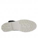 Bottines pour femmes avec boucle et fermeture éclair en cuir perforé noir - Pointures disponibles:  32