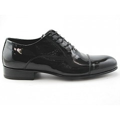 Men's laced oxford shoe with captoe in black patent leather - Available sizes:  48, 49, 50, 51