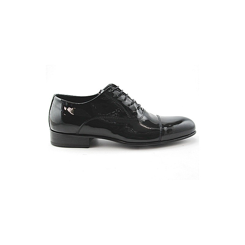 Chaussure richelieu à lacets et bout droit pour hommes en cuir verni noir - Pointures disponibles:  48, 49, 50, 51
