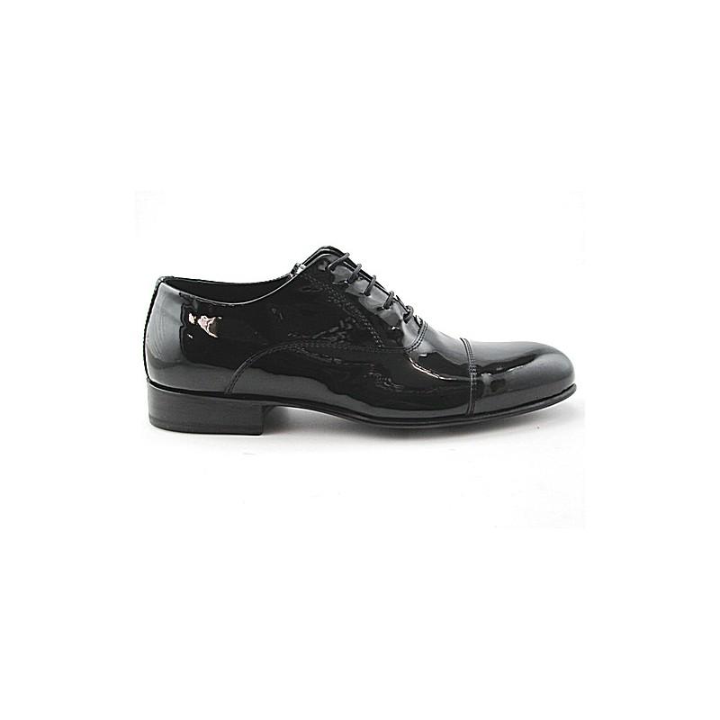 Herrenoxfordschuh mit Schnürsenkeln und Kappe aus schwarzem Lackleder - Verfügbare Größen:  48, 49, 50, 51
