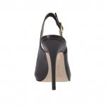 Sandale pour femmes en cuir noir avec plateforme interieur et talon 11 - Pointures disponibles:  31, 42