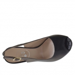 Woman's sandal in black leather with inner platform and heel 11 - Available sizes:  31