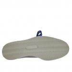Chaussure fermée pour femmes avec lacets et fermeture éclair en cuir verni et cuir bleu denim metallizé talon compensé 3 - Pointures disponibles:  32