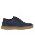 Chaussure sportif pour hommes en cuir bleu avec bout golf