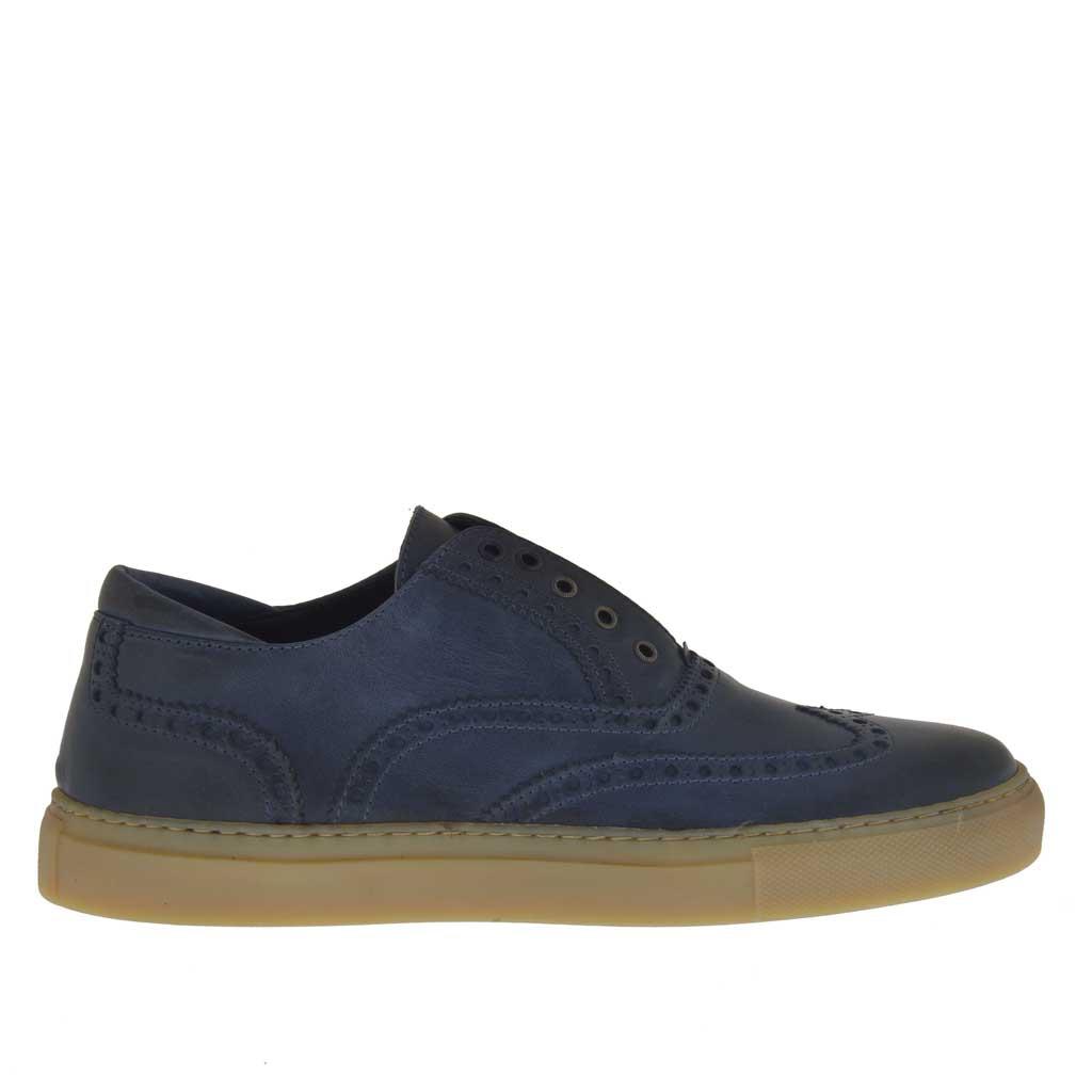 chaussure sportif pour hommes en cuir bleu denim avec. Black Bedroom Furniture Sets. Home Design Ideas