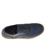 Men's sport shoe in aviation blue leather with Oxford style decorations