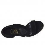 Woman's open toe pump in black suede with platform and heel 12