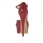 Woman's open platform pump with strap in red leather heel 15