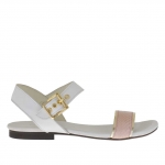 Woman's strap sandal in white, golden and pink viper printed leather