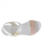 Woman's strap sandal in white, golden and pink viper printed leather - Available sizes:  32