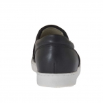 Woman's shoe with elastic bands in black leather and suede with studs and wedge 2