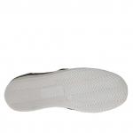 Zapato para mujer con elasticos y tachuelas en piel y gamuza negra cuña 2 - Tallas disponibles:  32